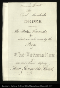 Order Concerning the Robes, Coronets, etc. for the Coronation of George III