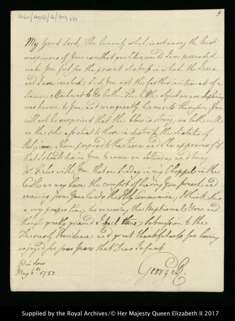 A letter from George III to the Bishop of Worcester after the death of his son, Prince Octavius.