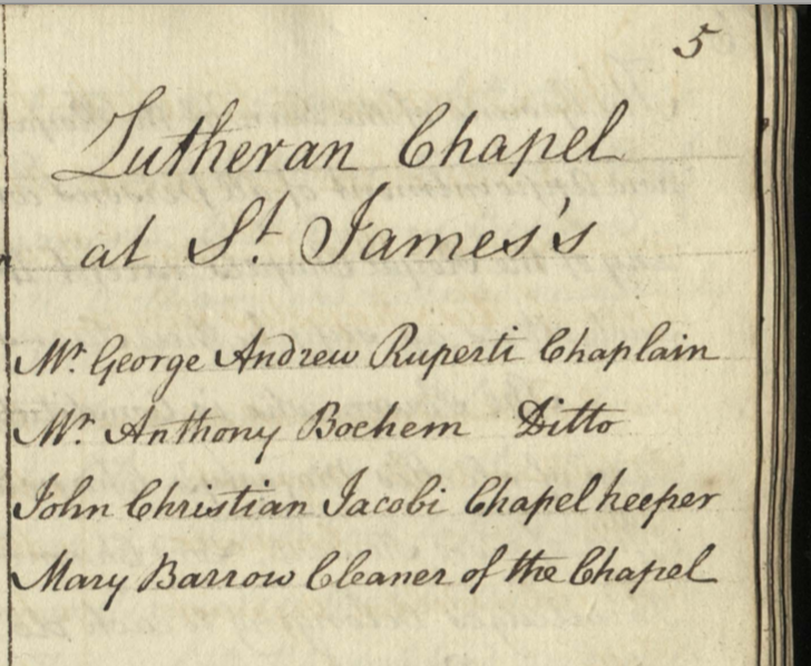"Listing of the appointees to the Lutheran Chapel at St. James's, 1721. Mary Barrow is named ""Cleaner of the Chapel."""