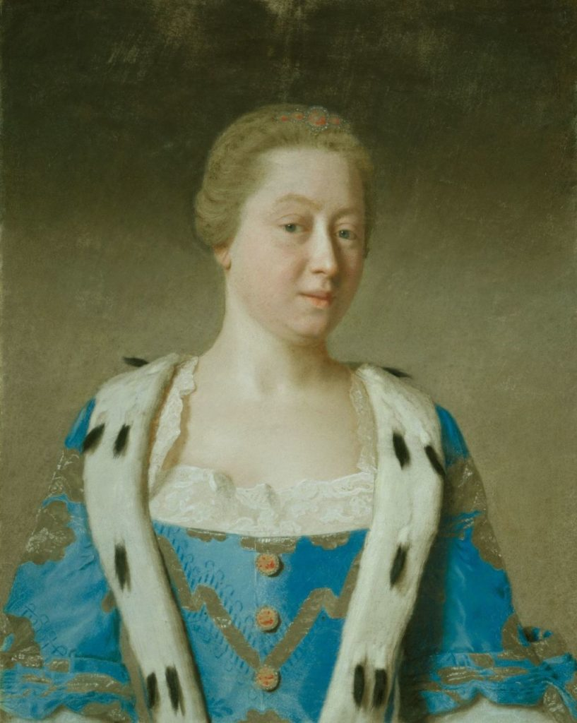 Painting of Princess Augusta, Dowager Princess of Wales, 1754. Depicts a middle-aged blonde woman from the waist up. She wears a blue gown trimmed with ermine.