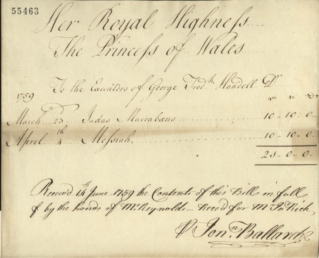 Receipt for payment received by the executors of Handel's estate, for Princess Augusta's attendance at two oratorios.