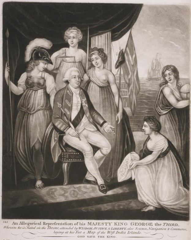 King George III surrounded by nymphs representing Wisdom, Justice, Liberty, Science, Navigation and Commerce